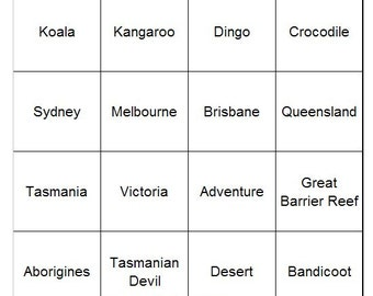 Australian Outback Themed Bingo Set