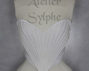 Fantasy white boned crinoline fan top with pistils costume performer on stretch band