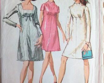 Vintage 1968 A-Line Dress Pattern Simplicity 7898 Size 12