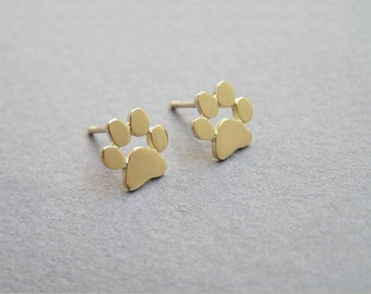 NEW Cute Gold Plated Animal Paw Print Stud Earrings