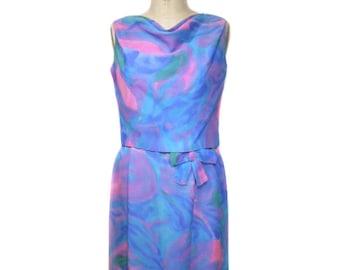 Jahrgang 1960 Aquarell Kleiderset / Krawatte Farbstoff abstrakt / Kleid Tank-Top / Kleid wackeln / 60er Jahre Kleid / Damen Vintage Kleid / Größe Medium