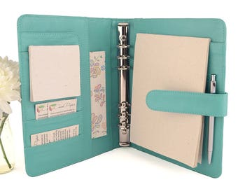 CLASSIC- A5 Leather Ring Binder Planner - 6 Ring, Lots of pockets, personalized & available in different colors.