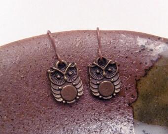 Mini Brass Lil Hooter Owl Earrings
