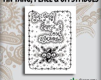 Yin Yang Peace & OM Symbols Design Book