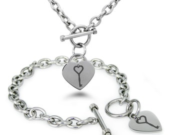 Stainless Steel Key to My Heart Heart Charm, Bracelet & Necklace Set / Silver / Gold / Rose Gold