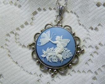Woodland Fairy Necklace - Butterfly Garden - Silver - Faerie - Wedgewood Blue Fairy - Butterfly Garden Fairy Pendant - Blue Fairy Jewelry