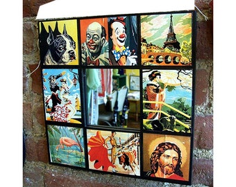paint by number wall mirror retro vintage Fifties era mid century kitsch art rockabilly decor