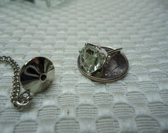 Round Cut Green Amethyst (Prasiolite) Tie Tack in Sterling Silver  #2159