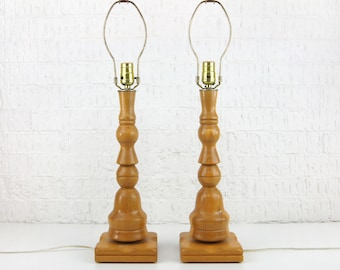 Pair of Wooden Table Lamps | Wood Tall Lamp Base | Set of 2 Vintage Side Table Lamps | Mid Century Modern, Scandinavian Nightstand Light