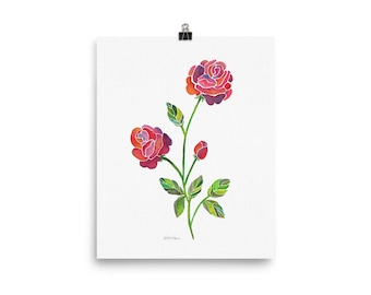 Modern Watercolor Flowers in Pinks, Purples, and Yellows.