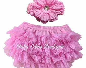 ruffle lace bloomers/ diaper cover pants/ cover diapers with headband