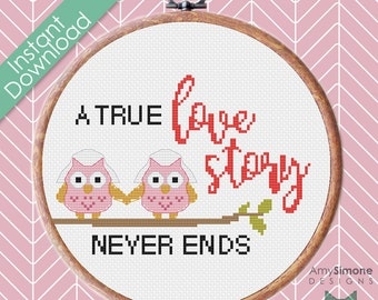 99p SALE Owl Mrs and Mrs Wedding Love Cross Stitch Pattern