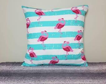 Flamingo on blue + white stripes cushion cover. flamingo pillow, flamingo cushion, flamingo print, throw pillows, pillow sham, throw pillow