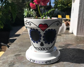 Hand painted sugar skull Day of the dead terra cotta pot