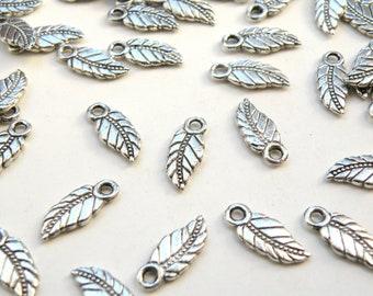 10 Leaf Charms antique silver 18x7mm PLF0225Y