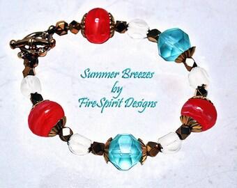 Summer Breezes- OOAK bracelet, handmade bracelet, beaded bracelet, lampwork bracelet, artisan bracelet, gift for her, beach theme jewelry