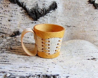 White Mug of birch bark with decor (not available)