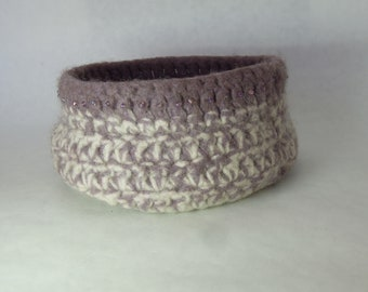 Lavender Creme Wool Felted Bowl with Beads