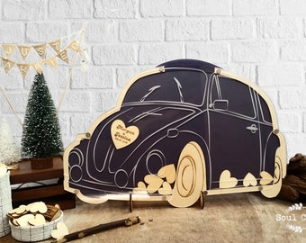 VW Beetle Wedding Guest Book Alternatives Bugs Drop Top Wooden Hearts Personalized Vintage Volkswagen Camper Anniversary Party
