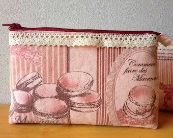 Pink macaron/macaroon cosmetics pouch with zip