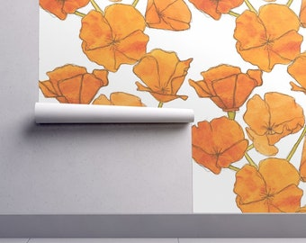 Poppy Wallpaper - Poppy Pattern By Studiodena - Bold Mod Orange Floral Custom Printed Removable Self Adhesive Wallpaper Roll by Spoonflower