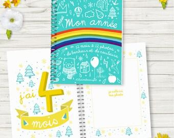 """Carnet """"12 mois""""  - 12 illustration pour 12 belles photos souvenirs de votre bébé à coller dans cet album photo"""
