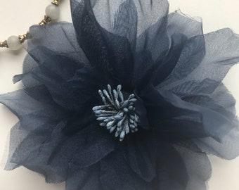 SMALL PEONY FLOWER , Navy Blue  /  F - 01