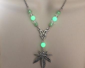 Ganja Goddess Glow Glass Crystal Necklace