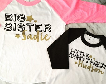 BIG sister big brother LITTLE brother little sister personalized sibling shirts, pink and gold sister shirt, black and gold brother shirt