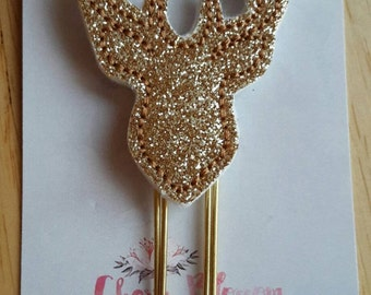 Stag Deer Head Silhouette Paper Clip in Gold