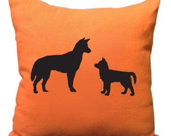 Hand Printed Australian Dingo Dog and Pup Silhouette Orange Cushion Cover Free Shipping Australia Wide