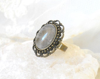 rosequartz ring boho ring bronze ring stone ring gemstone ring bohemian ring boho ring boho jewelry gemstone jewelry adjustable ring