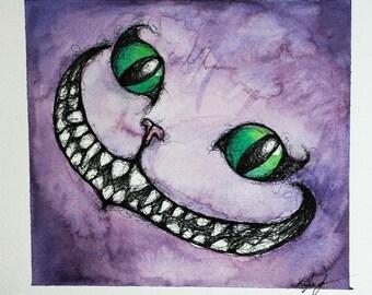 Original Cheshire Cat Watercolor Painting