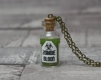 Zombie Blood Necklace, Potion Bottle Necklace, Zombie Necklace, Zombie Jewellery, Potion Necklace, Zombie Pendant, Potion Pendant