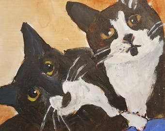Original acrylic painting snuggling kitties black and white tuxedo cats art home decor 6x6inches ready to hang