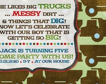 Birthday Party Invitation -- Big Boy Trucks