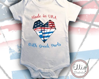 Greek American Baby Bodysuit, International Greece USA Baby Gift, Sizes available 3 months-9 months Babygro, FREE gift wrapping
