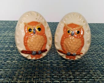 Porcelain Egg With Owl Pair