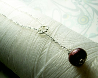 HALF PRICE - Ol Ball and Chain - red pearl necklace / lariat pearl necklace / lariat necklace / red necklace / pearl necklace