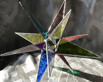 """11"""" Stained glass multi-color Moravian Star with silver finish"""