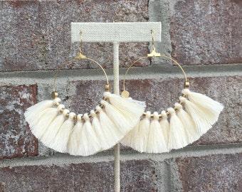 54 Tassel Colors/ Large Tassel Earrings/ Mini Tassels/ Bright Multicolor/ Tassel Hoop Earrings/ Mini Tassels/ 2 Inch Gold Hoop/ Brass Beads