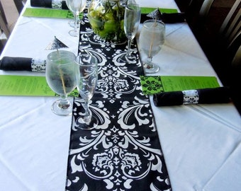 Black and White damask wedding runner, wedding receptions, birhday party