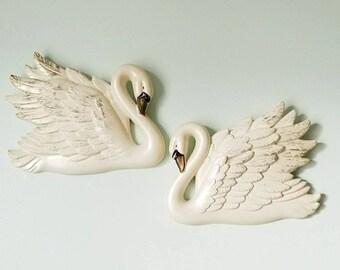 Set of Vintage 1968 Miller Studio INC Chalk Swan Hangings