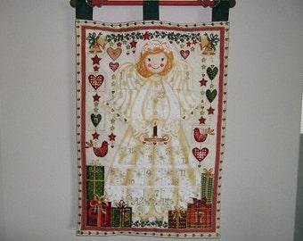 Christmas Advent Calendar - Golden Angel on White