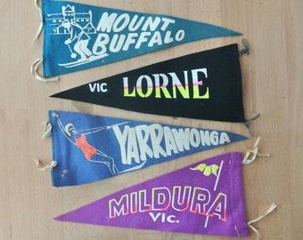 Vintage VIC  Souvenir Pennant Mildura, Mount Buffalo, Lorne, or Yarrawonga Mid Century Double Sided
