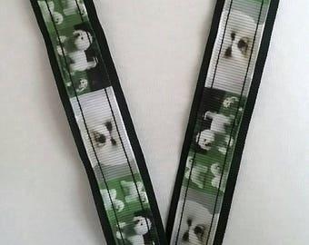 Bichon Friese dog on black ribbon Lanyard whistle ID badge key holder safety breakaway fastener handmade birthday teacher gift puppy xmas