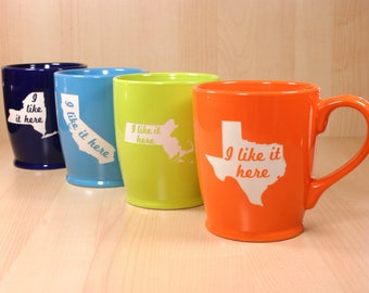 "State Map ""I like it here"" coffee mug"