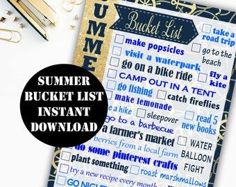 Summer Bucket List Printable Digital Download // Erin Condren Printable / Plum Paper Printable / Planner Insert Digital Download 00144