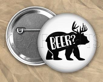 Beer Bear Pinback Button Flair #B78