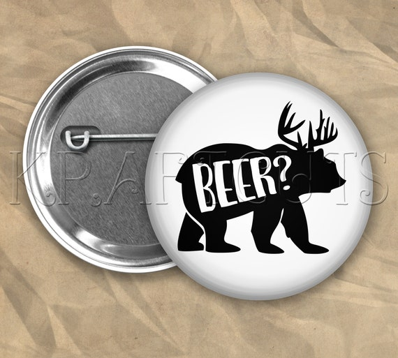Beer Bear Pinback Button Flair #B78